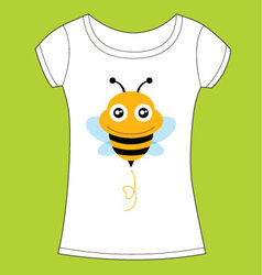 T-shirt design with cute bee vector image vector image