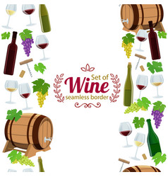 Vertical seamless borders of wine icons vector