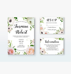 wedding invitation invite card design with rose vector image