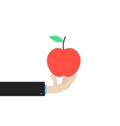 Hand holding big red apple vector