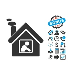 Workshop building flat icon with bonus vector