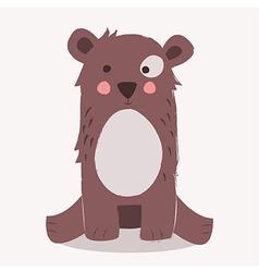 Cute brown bear sitting vector image