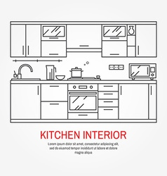 Modern kitchen wall interior vector