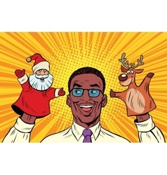 Happy dad a christmas puppet theater vector