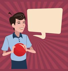 son red ball bubble speech vector image