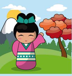 kokeshi doll japanese landscape image vector image