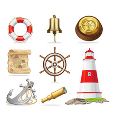 Marine attributes set of isolated vector