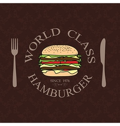 World class burger label stamp banner design vector