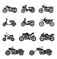 Motorcycle types objects icons set vector