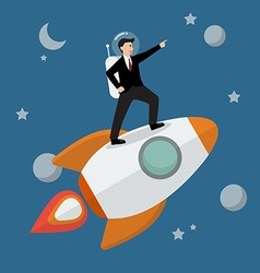 Businessman astronaut standing on a rocket vector