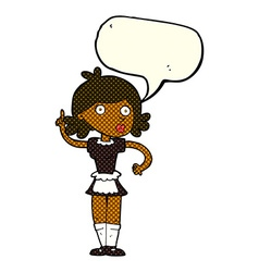 Cartoon surprised maid with speech bubble vector