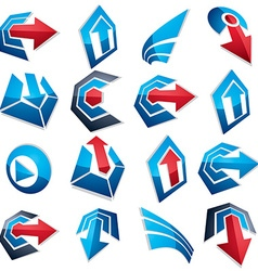 3d blue abstract shapes different business icons vector image