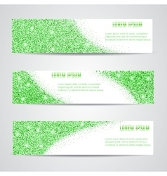 Horizontal green banners set vector