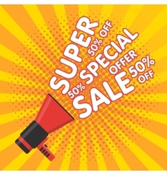 Super sale banner announcement megaphone vector