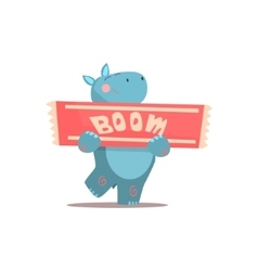 Hippo holding boom sign vector