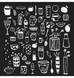 Dishware doodles white on black sketchy graphic vector