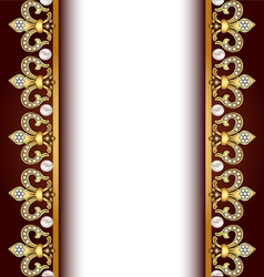 background with gold ornaments and pearls vector image vector image