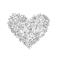 black and white floral heart vector image