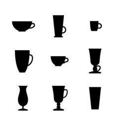 Black and white set of cups and glasses vector image