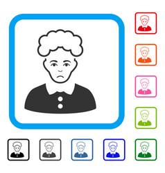Blonde woman framed sad icon vector