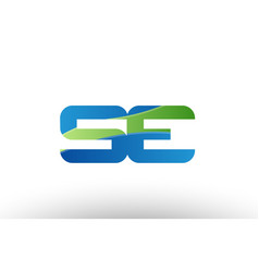 blue green se s e alphabet letter logo vector image vector image