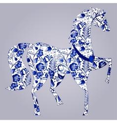 Blue stylized horse gzhel vector