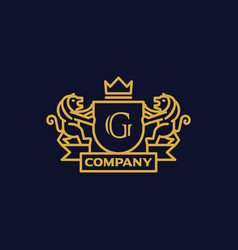 Coat of arms letter g company vector