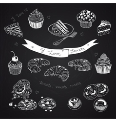 collection of pie cakes and sweets icons vector image vector image