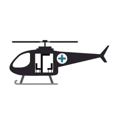 Color silhouette with rescue helicopter vector