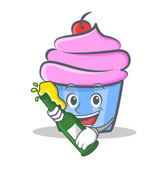 Cupcake character cartoon style with beer vector