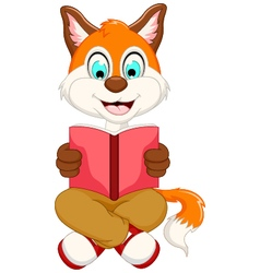 Cute smart fox reading book vector