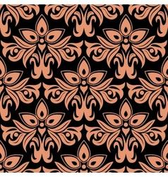 Dark damask seamless floral pattern vector image