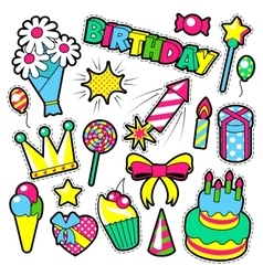 Fashion badges patches stickers birthday theme vector