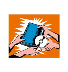 Hands exchange book and cd disk vector