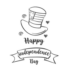 Happy independence day style hand draw vector