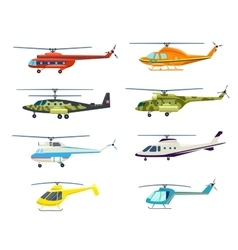 Helicopter isolated set in flat design vector image vector image