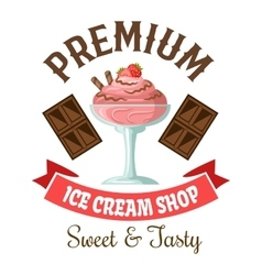 Ice cream shop retro symbol with strawberry gelato vector image