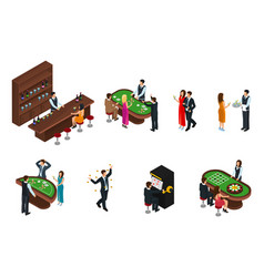 isometric people in casino set vector image