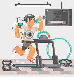 Man listening to music while running on treadmill vector