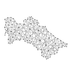 Map of turkmenistan from polygonal black lines vector