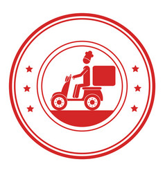 Monochrome circular frame with delivery man in vector