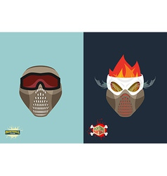 paintball helmet and mask scary skull with smoke vector image
