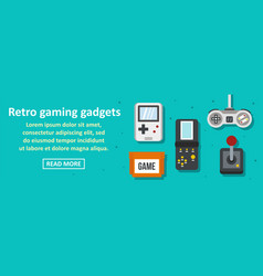 retro gaming gadgets banner horizontal concept vector image