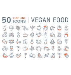 set flat line icons vegan food vector image vector image
