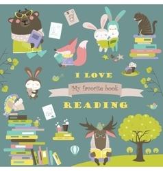 Set of cartoon animals reading books vector image vector image