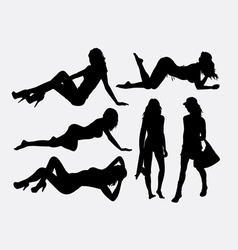 Sexy girl holiday silhouette vector image
