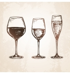 Sketch set of wineglasses vector image vector image