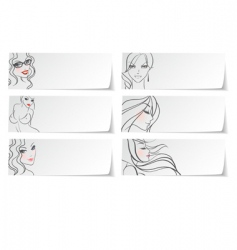stickers girls vector image vector image
