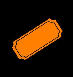 Ticket sign orange icon on black vector
