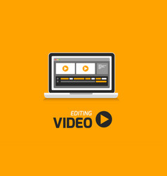 Video production computer software on laptop vector